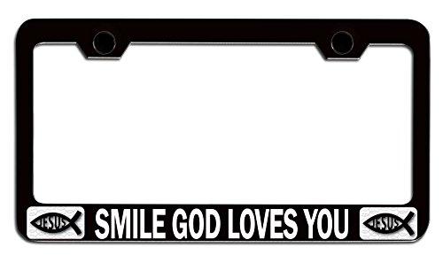 Makoroni - SMILE GOD LOVES YOU Religious Jesus Christianity Black Steel Auto SUV License Plate Frame, License Tag Holder]()