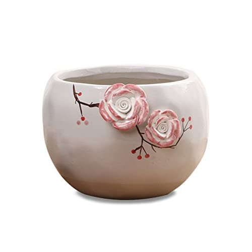 Discount Dahlia Hand Carved Ceramic Succulent Planter/ Plant Pot/ Flower Pot/ Bonsai Pot, Two Pink Roses #4 for sale