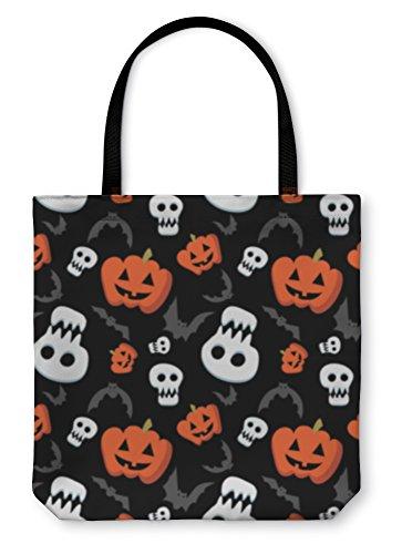 Gear New Shoulder Tote Hand Bag, Funny Halloween Pattern With Skulls Bats And Pumpkins, 16x16, (New Halloween Pumpkin Carving Patterns)