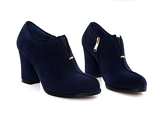 AmoonyFashion Womens Round-Toe Closed-Toe High-Heels Boots With Thread and Rough Heels Blue gKYoMUQor