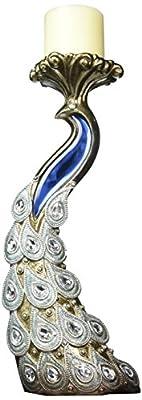 "SINTECHNO Bejeweled Pendants Peacock Candleholder Set, 14 x 16"", Silver/Blue"