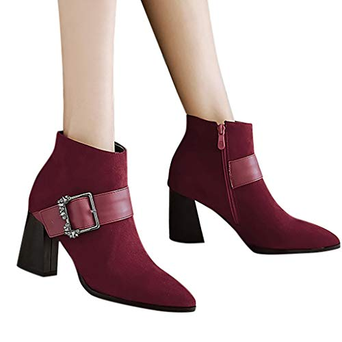 Pure Flock Rhinestone Wine Ghrcvdhw Toe Buckle Women Pointed Vintage Stylish Boots Strap Color Heels Zipper Chunky AS4j53qcRL