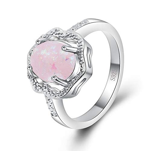 SISIBER Beautiful Round Design Opal Rings 925 Sterling Clear Silver Cubic Zirconia for Charming Women Wedding Trendy,10