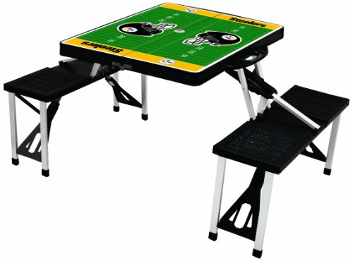 NFL Pittsburgh Steelers Football Field Design Portable Folding Table/Seats, Black ()