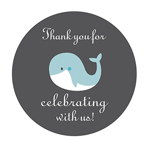 MAGJUCHE Blue Grey Whale Thank You Stickers, Boy Baby Shower Party Favor Labels, 2 Inch, -