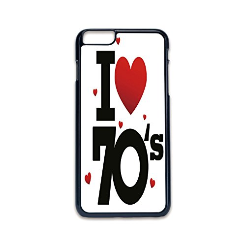 Phone Case Compatible with iPhone6 Plus iPhone6s Plus 2D Print Black Edge,70s Party Decorations,The Seventies Icon with Big and Little Hearts Vintage Cute Typography Decorative,Red Black,Hard Plastic]()