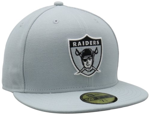 NFL Oakland Raiders Historic Logo 59Fifty Fitted Cap, Silver, 7 5/8
