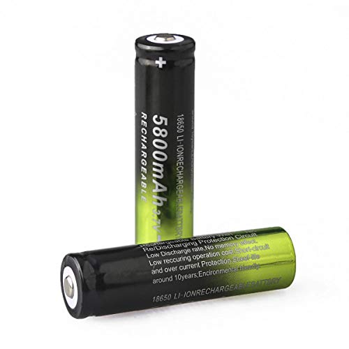 2Pcs Rechargeable Batteries, 5800mAh 3.7V Li-ion, Button Top,18650-Battery, for Flashlight Headlamp