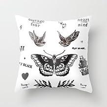 GraebnerSaleStore 18X 18inch Pastoral Style Cotton Linen Decorative Throw Pillow Cover Cushion Case New Tattoo ? La Harry H:314