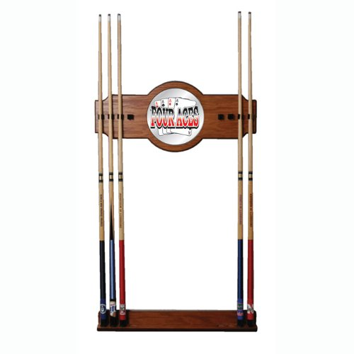 Trademark Four Aces two-piece Wood and Mirror Wall Cue Rack by Trademark Global