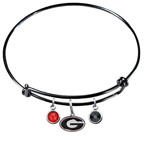 Georgia Bulldogs BLACK Expandable Wire Charm Bracelet Bangle w/ Team Color Crystals