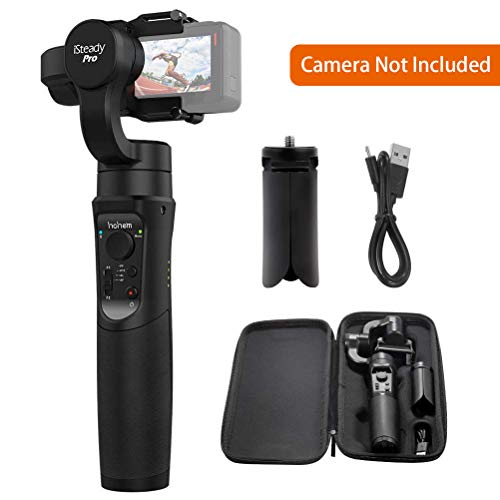 Action Camera Gimbal Stabilizer, 3-Axis Handheld Gimbal for GoPro Hero7/6/5/4/3, Sony RXO, Yi Cam 4K, AEE, SJCAM Sports Cams, ect. APP Control for Auto Panoramas, 4 Following Modes