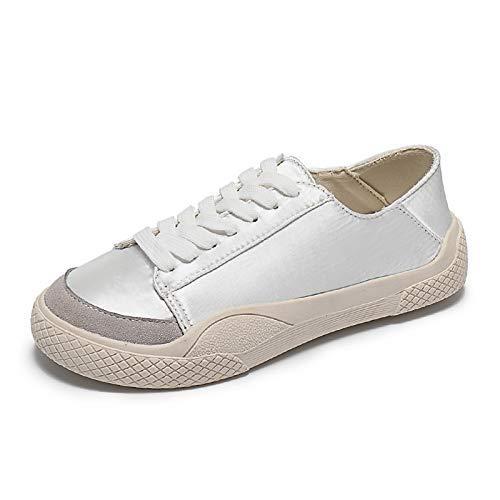 Punta y Las de Color ZHZNVX Tacón Rosa Comodidad Primavera Casual Zapatos Mujeres Deporte White Redonda de Bloque Goma Plano de otoño de Blanco Claro Zapatillas BB8wEa