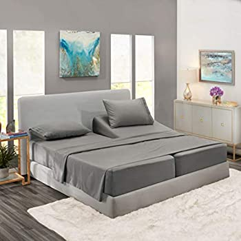 Nestl Bedding Soft Sheets Set - 5 Piece Bed Sheet Set, 3-Line Design Pillowcases - Easy Care, Wrinkle Free - 2 Fit Deep Pocket Fitted Sheets - Free Warranty Included - Split King, Gray