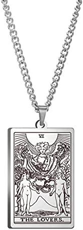 Stainless Steel Tarot Cards Necklace,Tarot Pendant Necklaces Horoscope Pendant Jewelry Zodiac Cardtarot Card