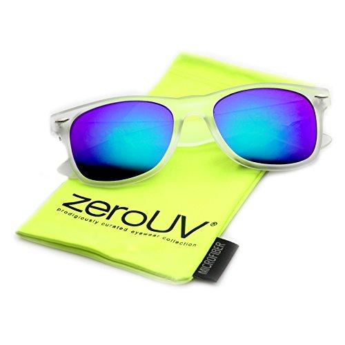cf9a4320172 zeroUV 8025 Retro Matte Black Horned Rim Flash Colored Lens Sunglasses