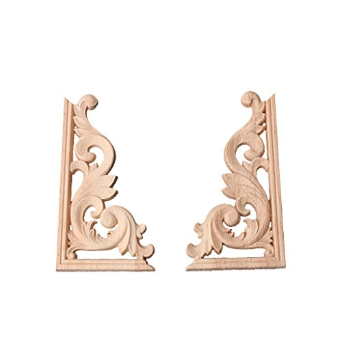 BloomingJS 1Pair Wood Carved Corner Onlay Applique Frame Decor Furniture Craft Unpainted