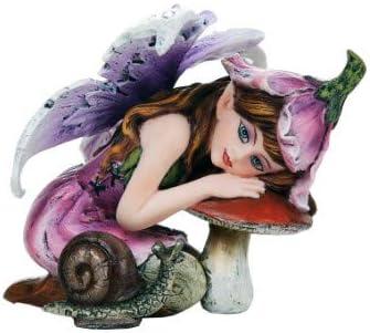 Pacific Giftware フェアリーガーデン フラワー 妖精 キノピコとカタツムリの装飾ミニガーデンフィギュア 3インチ
