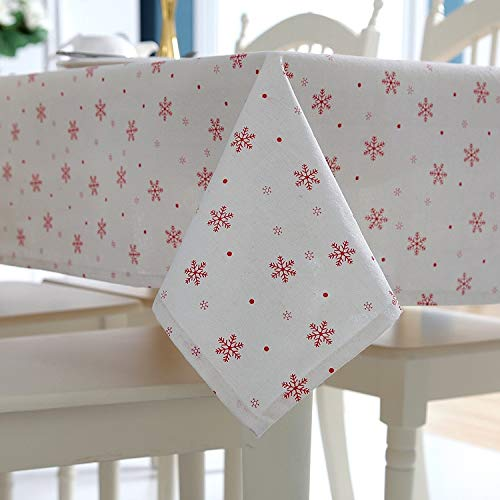 Blue Stones Christmas Table Cloth Simple Polyester Cotton Imitation Marijuana Red Snow Christmas Coffee Table Tablecloth ()