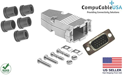 (CompuCablePlusUSA.com Best HD15 Male Solder Type Connector Kit with Metal Hood+Strain Relief Grommet, Best Complete High Density DB15 Male Solder Type Connector Kit, Fix/Make/Assemble Your own Cable)