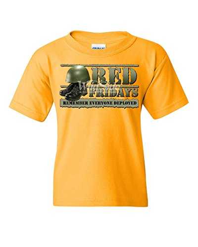 Red Fridays Remember Everyone Deployed Youth T-Shirt Support US Troops Kids Tee Yellow L