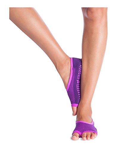 Tucketts Womens Pilates Socks, Toeless Yoga Non Slip Skid Grip Low Cut Socks for Barre, Studio, Bikram, Ballet, Dance - Ballerina Style (Grape/Orchid Duo)