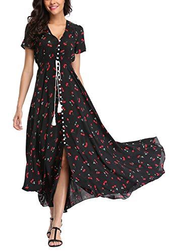 V fashion Women's Floral Maxi Dress Button Up Split Summer Boho Long Beach Dress Black-Cherry