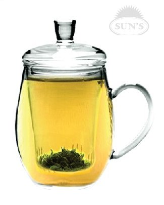 Tea Infuser: Sun's Tea (TM) 12oz Personal All Glass Made Tea Infuser & Mug (Teapot)