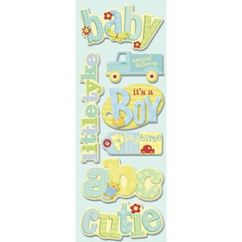 Brenda Walton Small Wonders Boy Tags & Words Adhesive - Chipboard Adhesive Tags