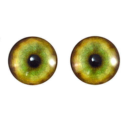 (20mm Glass Tiger Eyes Pair, for Jewelry Making, Art Dolls, Sculptures, and More )