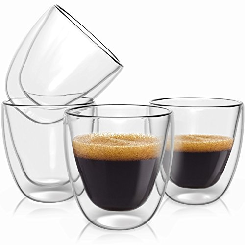 Double Wall Espresso Cups Set - Insulated Coffee Shot Glasses - 2.6oz, Set of 4 - Demitasse Gift Box by Evaryl