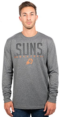 NBA Men's Phoenix Suns T-Shirt Performance Long Sleeve Pullover Tee Shirt, Medium, Gray