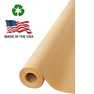 """American Made 100% Recycled Brown Kraft Paper Roll, Multipurpose Arts & Crafts, Gift Wrapping, Packing and Shipping, 17.75"""" x 1800"""" (150 ft) by NY Paper Mill"""