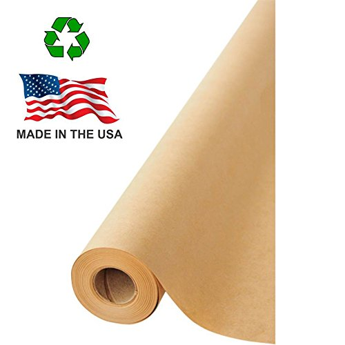 "Made in USA Brown Kraft Paper Jumbo Roll 17.75"" x 1200"" (100ft) Ideal for Gift Wrapping, Art, Craft, Postal, Packing, Shipping, Butcher, Dunnage, Parcel, Table Runner, 100% Recycled Material (Canvas Art Gift Card)"