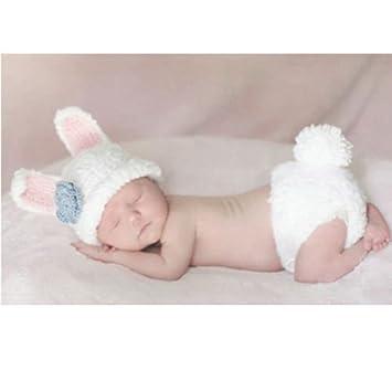Baby Kleinkind Neugeborenen Hand Gestrickt Häkeln Strickmütze Hut Kostüm Baby Fotografie Requisiten Props Weißer Kaninchen