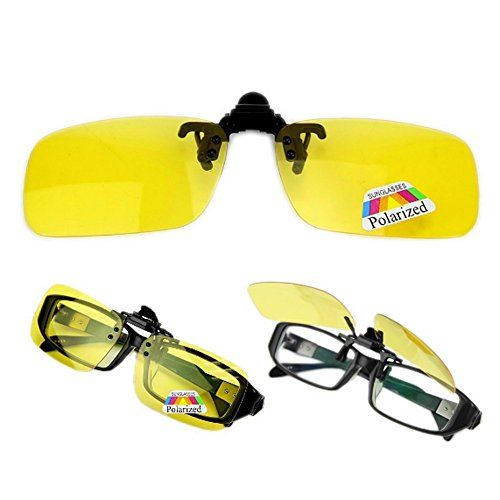 Best-topshop Polarized Glasses Day Night Vision Driving Sunglasses Clip-on Flip-up Lens (Yellow, - Driving Best For Lenses