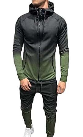 Men 2-Piece Gradient Hood Slim-Fit Zip Up Sweatsuit Jogging Set Army Green XS