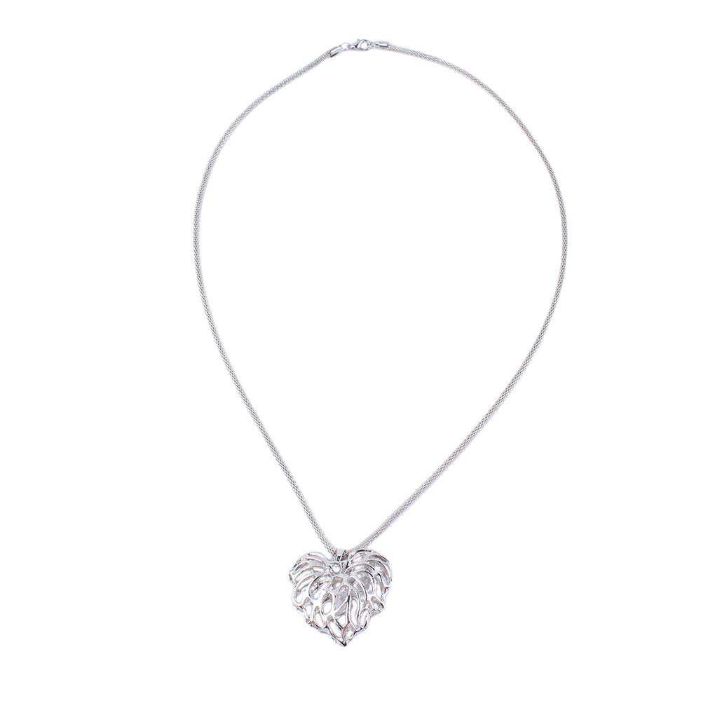 Meoliny Hollow Love Leaves Sweater Chain Fashion Simple Heart Shape Long Necklace Pandent Jewekry,Silver