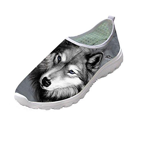 Slip Pour Adolescente Fille Mesh Gris Sneaker Chaussures Loup Tennis Femmes Animal Les On Design Showudesigns Aaqfq