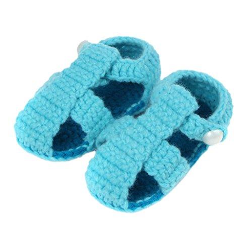 Smile YKK Strickschuh Strick Schuh Baby Unisex süße Stil One-Size 11cm Knopf Hellblau
