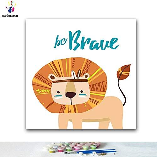 KYKDY DIY Färbungen Bilder malen nach Zahlen mit Farben Ethnische Tierillustration Bildzeichnung Malen nach Zahlen mit gerahmtem, 90500,40x40 kein Rahmen B07PS5FYTP | Genialität