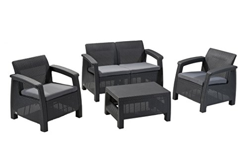 Keter Corfu 4 Piece Set All Weather Outdoor Patio Garden Furniture w/ Cushions, Charcoal Chair Charcoal Outdoor Furniture