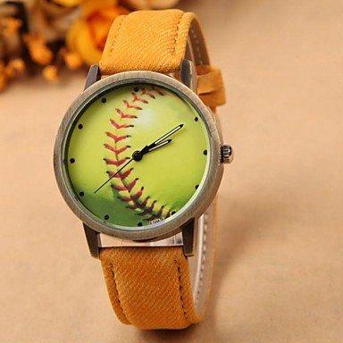 QHY reloj de moda las mujeres `s patrón de bola creativa esfera redonda banda de tela de pulsera de cuarzo (colores surtidos) , Gelb: Amazon.es: Relojes