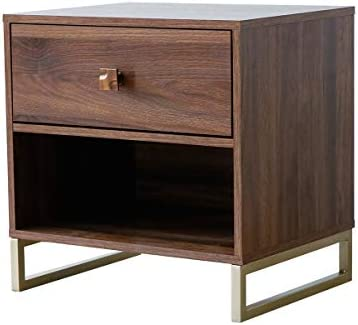 Roomfitters Side Table End Table Night Stand with Drawer, Walnut and Gold Legs