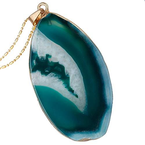 TUMBEELLUWA Natural Agate Pendant Necklace Druzy Irregular Slice Healing Crystal Quartz Handmade Jewelry for Women,Green Agate (Green Agate Stone)