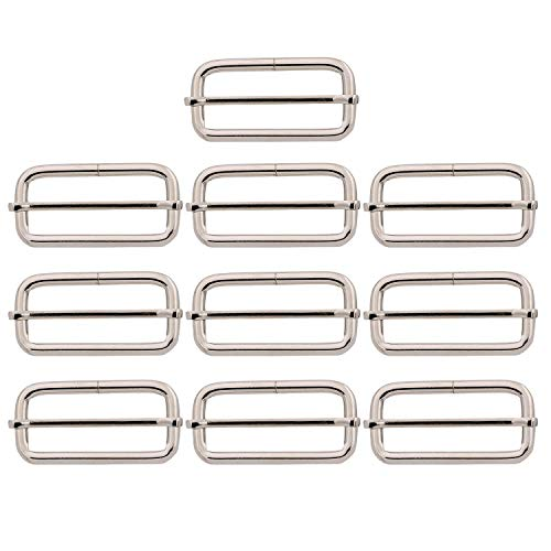 BIKICOCO Metal Slide Adjuster Buckle Tri-Glides with Movable Center Bar, for Straps, 2 x 3/4 Inch, Silver, Pack of 10