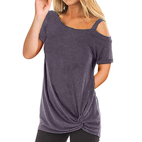 Women Summer T-Shirt, JOYFEEL  Ladies Sale Casual Tunic Top Button Loose Short Sleeve Solid Round Neck Trim Blouses