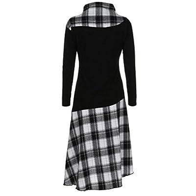Ninasill Women Dress, ? Hot Sale ? ! High Neck Plaid Pattern Patchwork Dress Long Sleeve Dress T-Shirt Skirt Blouse Tops