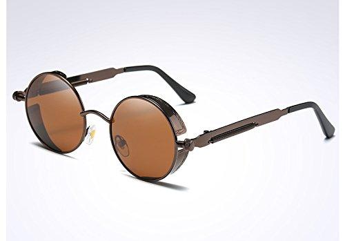 Gafas Ronda gafas Vintage de de sol oro UV400 Steampunk las Sunglasses mujer brown verde TL IqU0vZ