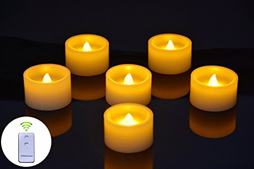 Flameless Pillar Candles Flickering Battery Tea Lights LED Real Wax WaterProof Candles(Ivory Color)Votive Candles with Remote Control Lights,Pack of 6